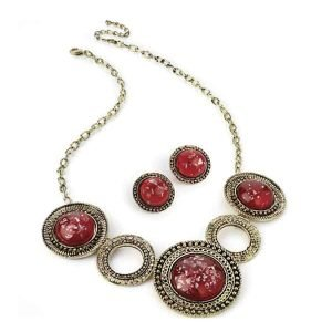 Costume jewellery burnished gold colour red stone necklace and earring set