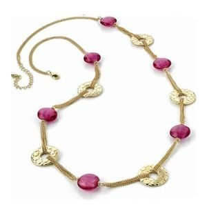 Stunning pink bead and gold textured link chain necklace