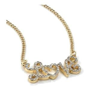 Crystal stones gold colour love name fashion choker necklace