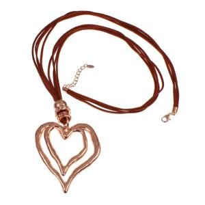 Lagenlook large rose gold heart pendant & cubic zirconia brown suede long necklace