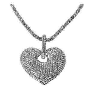 Chunky large heart pendant with encrusted cubic zirconia stones rhodium plated fashion jewellery necklace