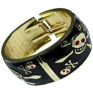 Black and gold skull and crossbone fashion jewellery funky bangle