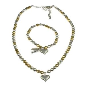 Gold and silver colour heart charm bracelet with matching choker necklace