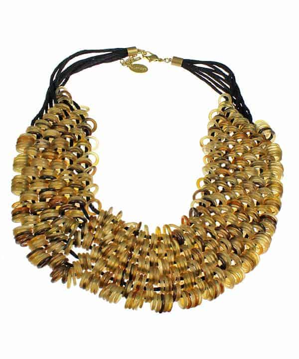 Natural buffalo horn ring round link stranded 43 cm cord choker tribal jewellery necklace