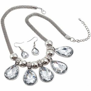 Large crystal pear charm silver colour choker necklace jewellery set