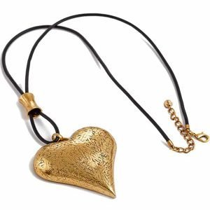 Lagenlook burnished gold large chunky heart pendant leather long necklace