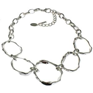 Chunky multiple graduated hammered silver colour statement choker necklace