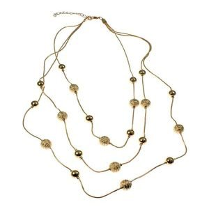 Gold colour diamond cut and polished ball bead triple chain necklace