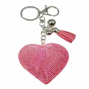 Huge oversized pink crystal encrusted fabric puffy heart keyring and handbag accessory