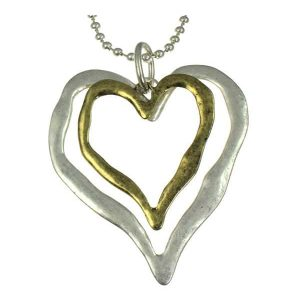Matte silver and antique brass large double large heart pendant long necklace
