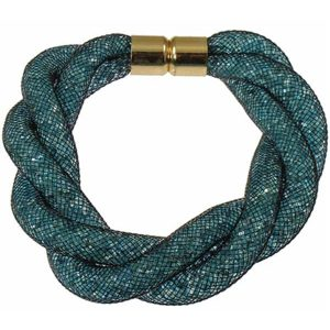 Intertwine twisted blue mesh tube filled multiple crystals magnetic catch bracelet