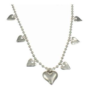 Quirky matte silver colour heart charm ball bead long fitting necklace