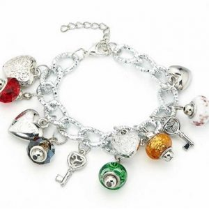 Impressive charm bracelet manufactured from murano beads