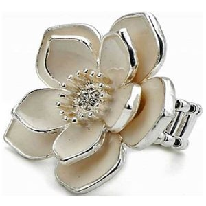 Enamel flower crystal stone stretchy ring design