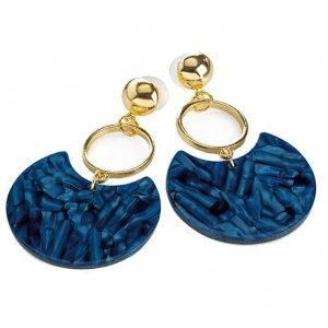 Fashion jewellery gold colour navy blue marble style drop stud earring