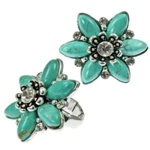 Fashion imitation turquoise crystal silver chunky stretchy ring