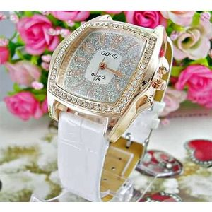 Diamante crystal stone with sparkling watch face classic white strap fashion watch