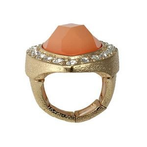 Large marquise diamante stone cocktail gold ring