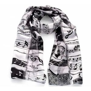Black and grey musical note design satin stripe printed scarf