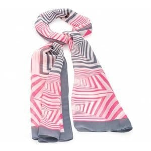 Pink and grey tone square printed scarf