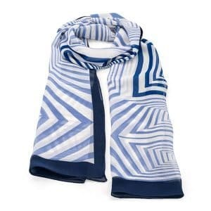 Colourful abstract square shape design blue printed scarf