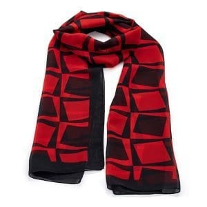 Red and black colour square design images printed scarf