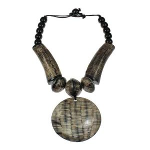 Tribal style natural buffalo horn huge round pendant choker necklace