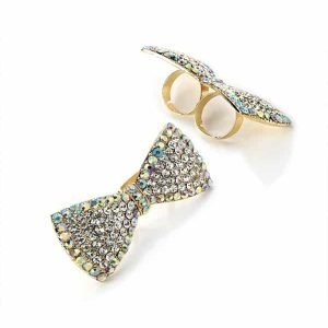 Large size bow fashion jewellery two finger diamante adjustable ring