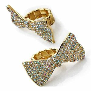 Bow design crystal stone adjustable ring