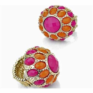 Golden funky womens orange and pink stone ring