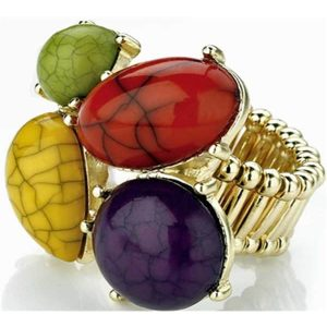 Lovely comfortable multi colour bead elastic ring