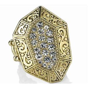Diamante studded engraved gold elastic ring