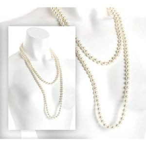 Double wrap knotted faux cream pearl bead long necklace jewellery