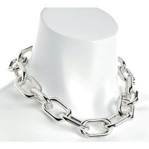 Silver colour chunky large oval lightweight choker necklace fashion jewelry