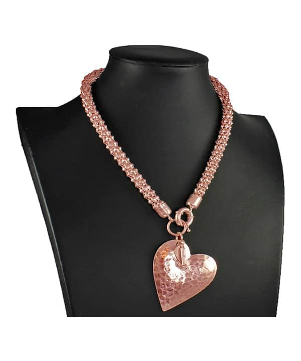 Costume jewellery rose gold large heart pendant on a chunky choker necklace