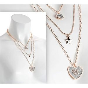 Triple tier drop rose gold colour crystal glitter heart charm necklace