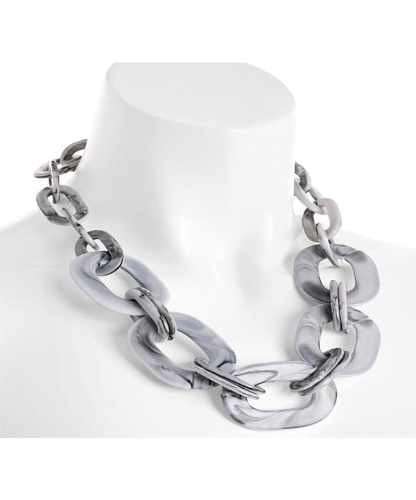 Grey colour resin large oval link trendy choker necklace jewellery