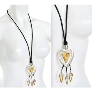 Brushed gold and silver colour double large heart pendant on a cord long necklace