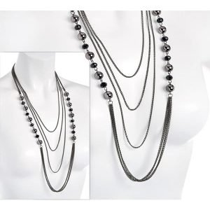 Black crystal with hematite colour ball bead long draping chain necklace