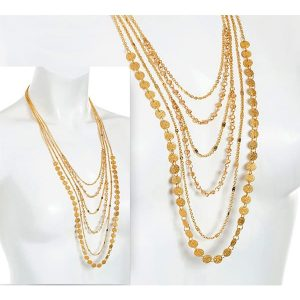Gold colour small disc multi tier long dangling chain necklace