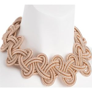 Large rose gold colour braided design with magnetic clasp choker necklace