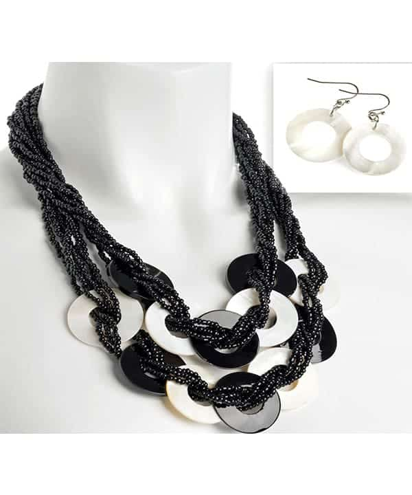 black beads with white disc necklace