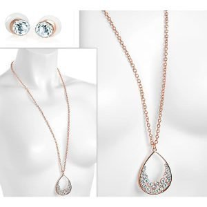 Rose gold colour crystal teardrop pendant long necklace and earring jewellery set