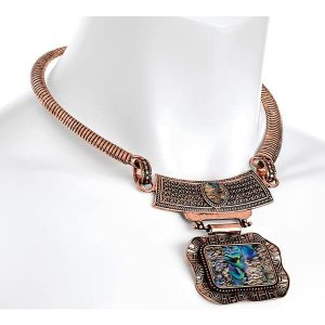 Tribal burnished rose gold colour mother of pearl faux stone choker necklace