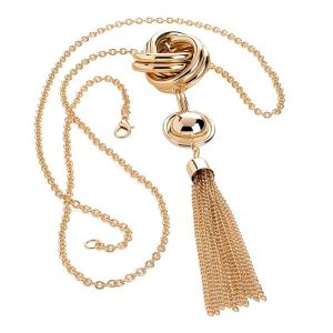 Fashion jewellery gold colour tassel twisted link bead long necklace