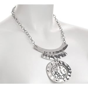 Women's costume jewellery silver hammered finish circular pendant belcher necklace