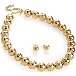 Gold colour large ball bead earrings and choker necklace set
