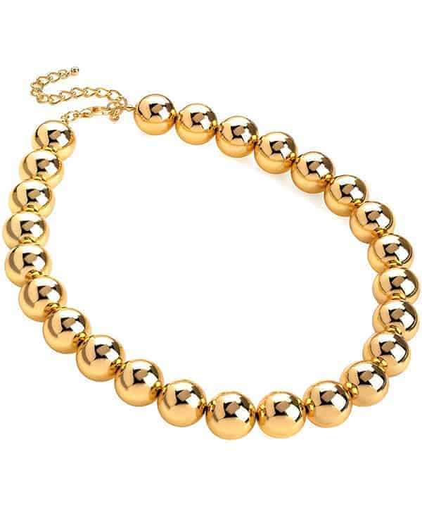 Gold colour jewellery chunky large ball bead choker necklace