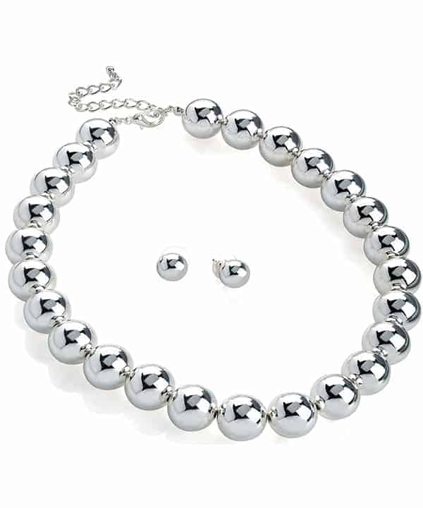 Silver colour large ball bead earrings and choker necklace set