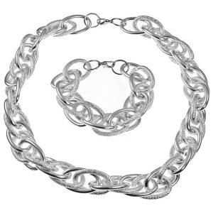Chunky large textured rope choker chain necklace and bracelet